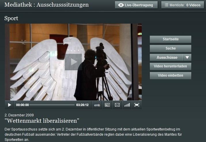 Erstmal nix mehr öffentlich - der Sportausschuss des Bundestages / screenshot bundestag.de